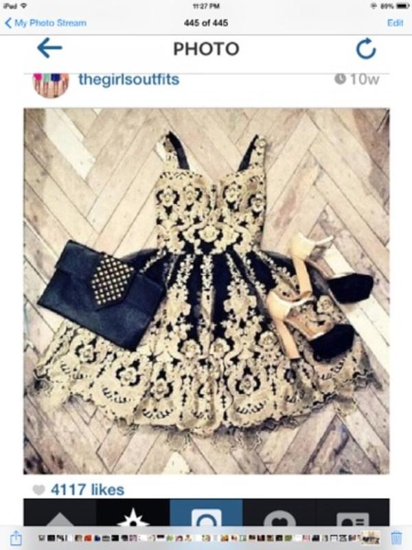 dress vintage gold black