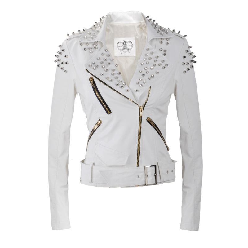 New Women Girl Rock Punk Rivets Blazer Coat PU Leather Motorcycle Coat Jacket   eBay