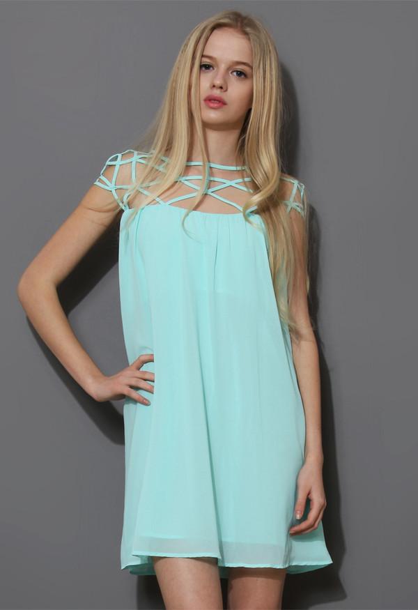 dress mint blue cage chiffon top