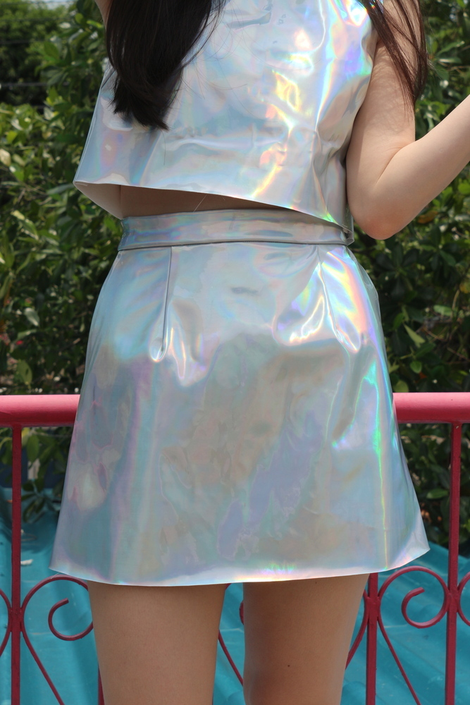 Glitters For Dinner — Made To Order - Holographic Mini Skirt