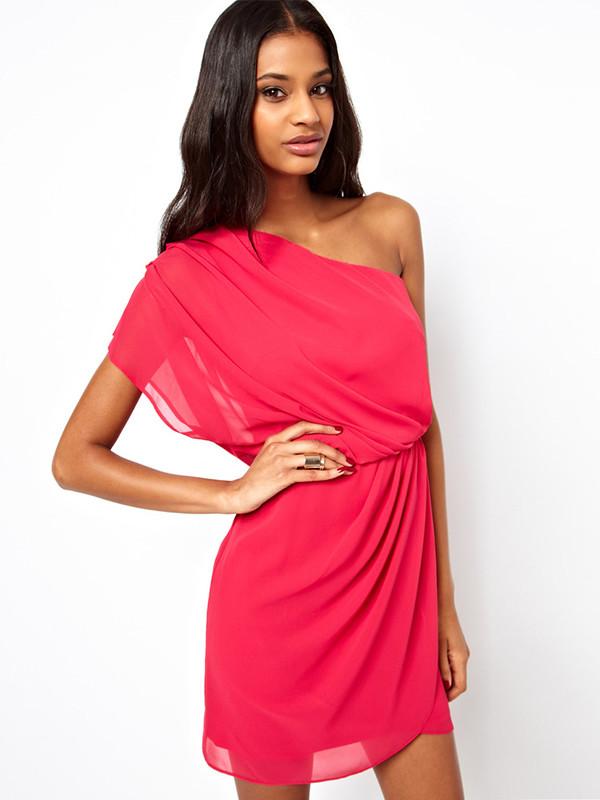 red dress chiffon dress one-shoulder dress mini dress