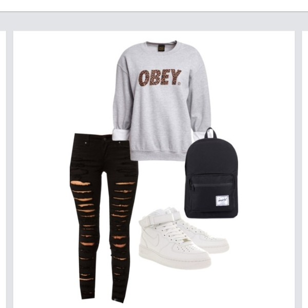 sweater obey grey sweater black jeans backpack pants shoes bag