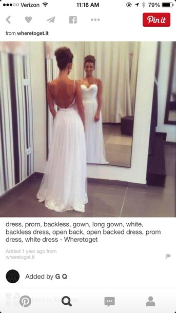 dress white dress backless dress thin straps