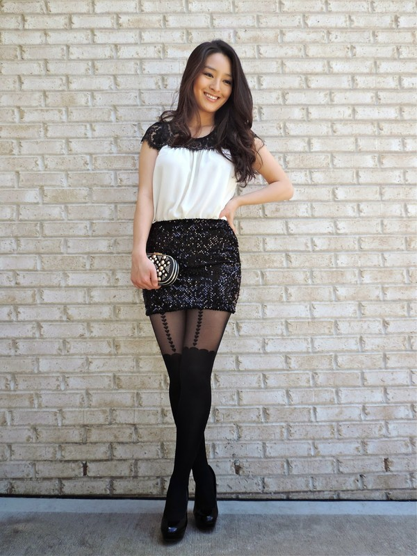 sensible stylista tights top bag shoes skirt