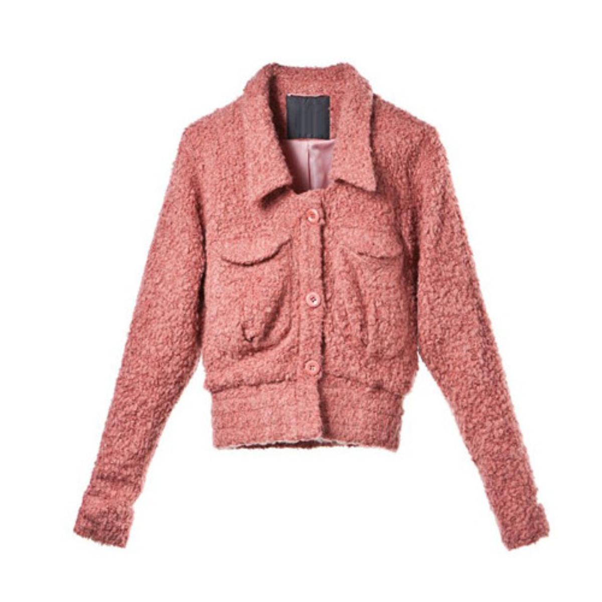 Pink Lapel Short Woolen Coat,Cheap in Wendybox.com