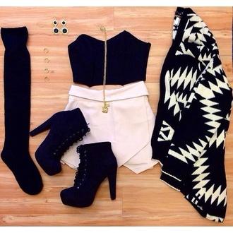 white skirt crop tops black top statement earrings statement necklace skorts black and white aztec aztec sweater ootd shoes top black crop top high heels skirt socks black heels cardigan sweater shorts