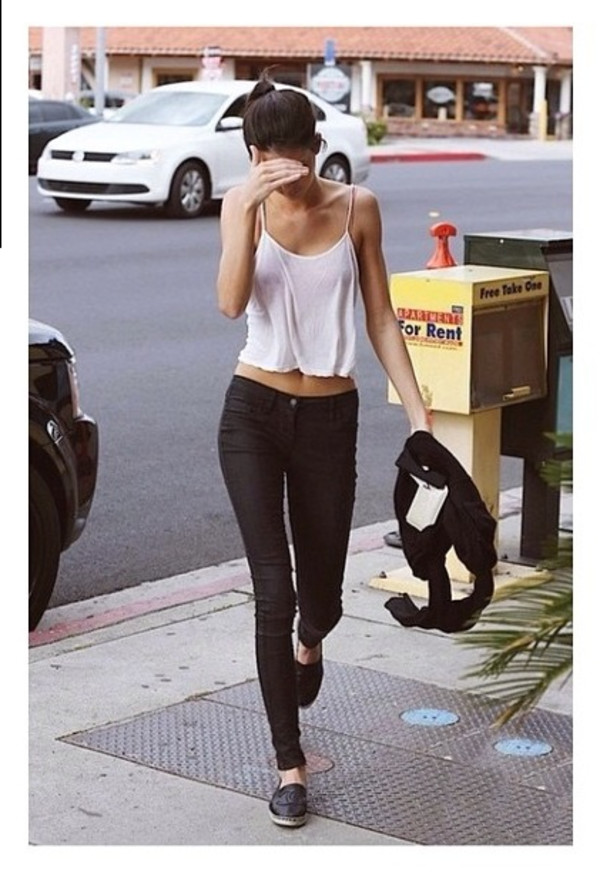 tank top kendall jenner white jeans