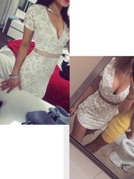 dress cream lace dress short sleeve dress