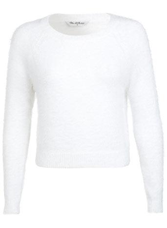 White Fluffy Cropped Jumper - Knitwear  - Clothing  - Miss Selfridge