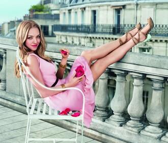 dress pink dress amanda seyfried sandals