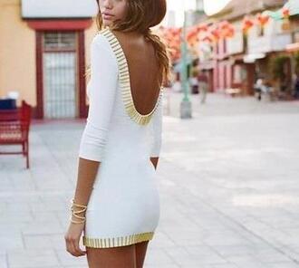 dress fashion style moda clothes white gold white and gold dress gold and white dress white gold white dress details