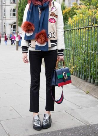 divainme blogger scarf top jacket jeans bag shoes varsity jacket gucci loafers metallic shoes black pants