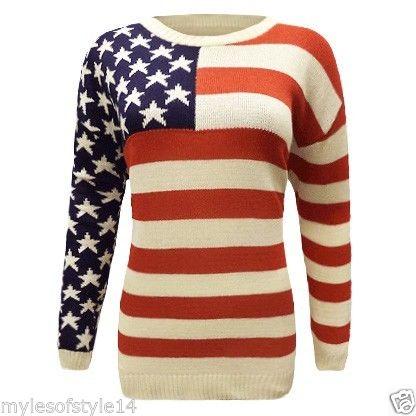 AMERICAN FLAG PRINT USA STARS STRIPES LONG KNITTED WOMENS JUMPER TOP PLUS SIZE   eBay