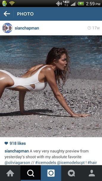 swimwear white cross cut bodysuit