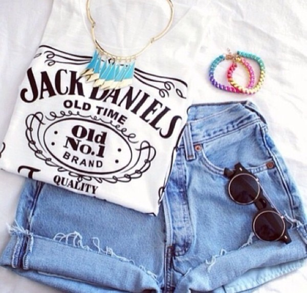 shirt jack daniel's t-shirt white quote on it quote on it vintage shorts sunglasses