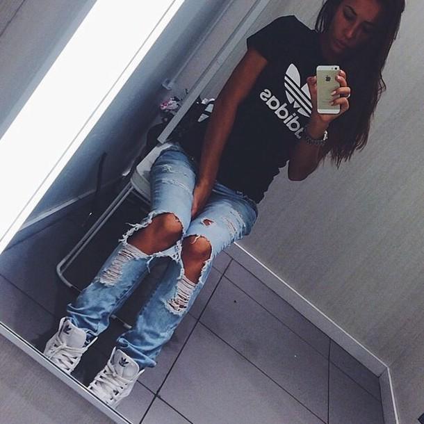 t-shirt shirt adidas jeans pants