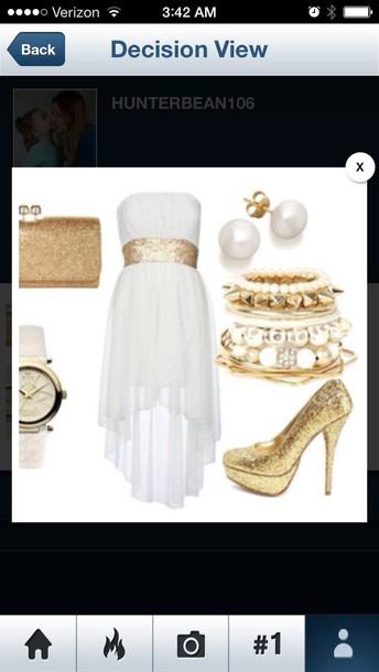 dress cream high low dress gold sparkle belt