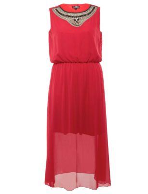 Lovedrobe Red Embellished Neck Maxi Dress