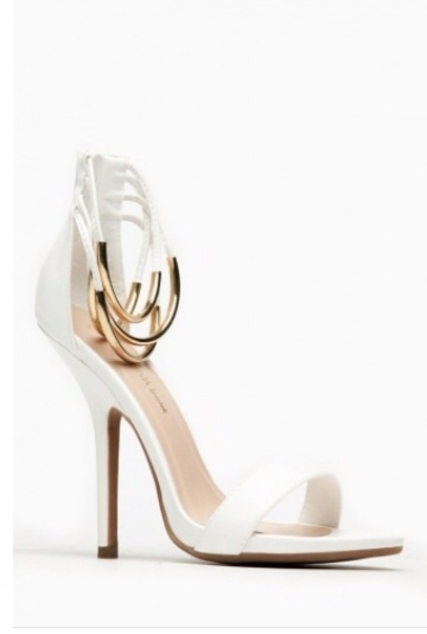 shoes white heels heels gold open toes straps