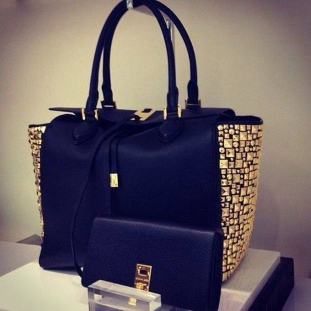 Completely new bag, black, bag, beautiful, studs, leather, tote bag, black and  LX16