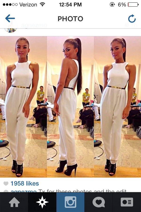 pants jumpsuit white white shoes high heels make-up gold instagram tumblr