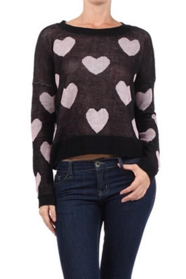 sweater black sweater heart heart sweater