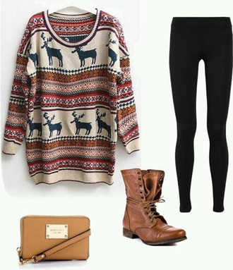 sweater coat oversized sweater deer stripes cream boots leather combat boots tie up leggings shoes clothes pants bag jeans winter sweater winter outfits print blouse christmas sweater