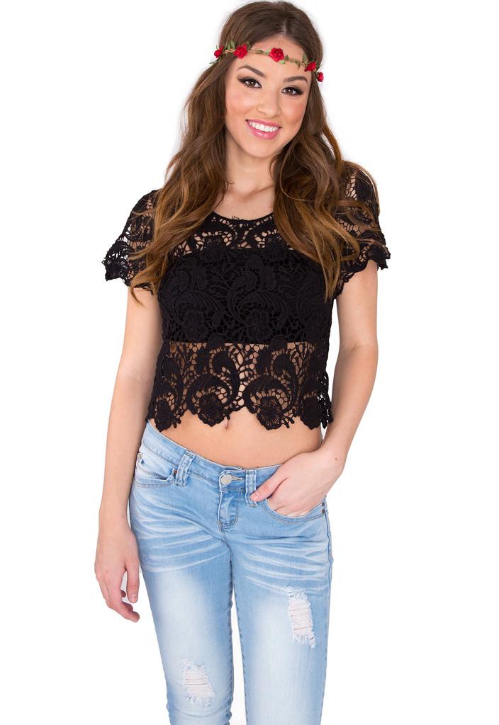 Charlie Crochet Crop Top - Black