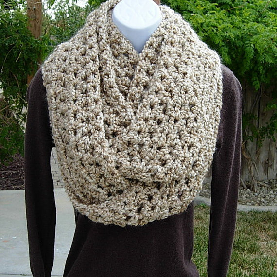 INFINITY SCARF Loop Cowl..Solid Beige Light Tan by MicheleMade