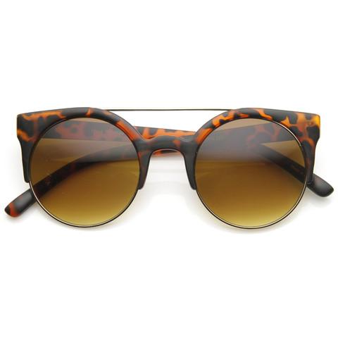 Contemporary Designer Retro Circle Super Half Frame Flat Bar Sunglasse                           | zeroUV