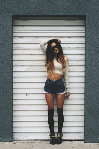 shirt stockings underwear shorts denim vintage high waisted t-shirt clothes
