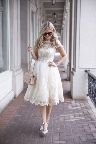 suburban faux-pas blogger coat dress bag sunglasses jewels shoes white lace dress nude bag chanel bag valentino rockstud high heel pumps