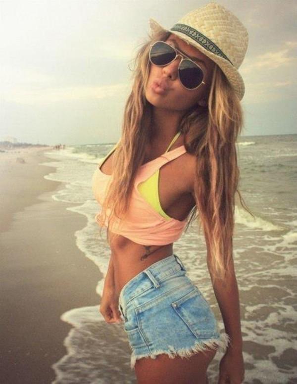tank top cropped tank top bikini top hat sunnies shorts jeans short