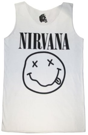 Amazon.com: Nirvana Shirt Smiley Rock Band Funny T shirts Tank Top Women's White Singlets: Clothing
