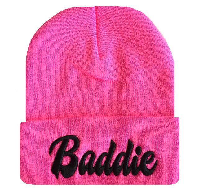"New Pink Black Hip Hop ""Baddie"" Cuffed Skull Beanie Cap 3D Embroidery   eBay"