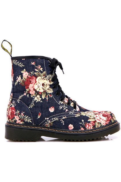 ROMWE   Floral Upper Lace Up Blue Martin boots, The Latest Street Fashion