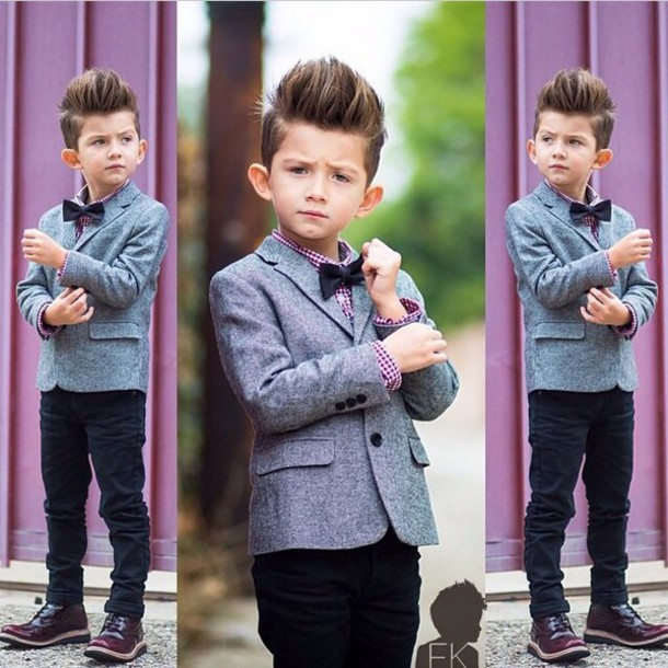 jacket blazer blazer suit top blazer jacket grey grey grey blazer jeans black jeans checkered shirt bows bowtie black bowtie DrMartens swag dapper kids fashion kids with swag