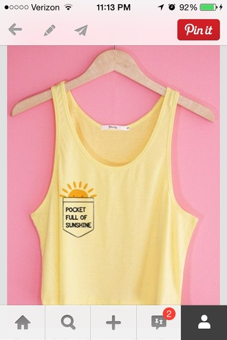 shirt yellow crop tops sunshine pocket t-shirt pockets