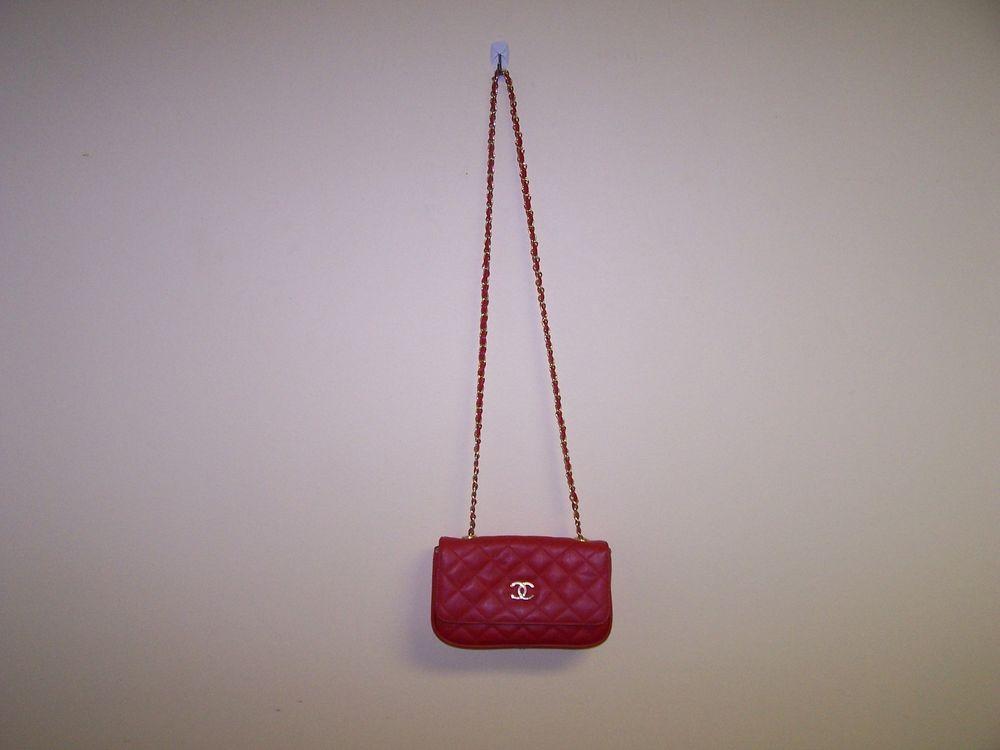 Red Shoulder Bag Long Strap Quilted Pattern   eBay