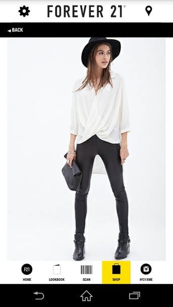 blouse forever 21 sheer surplice top black and white