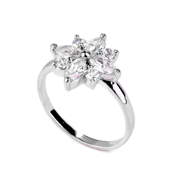 Cubic Zirconia Maked Sparkling Snowflake Rings For Fashion Jewelry Free Shipping-in Rings from Jewelry on Aliexpress.com