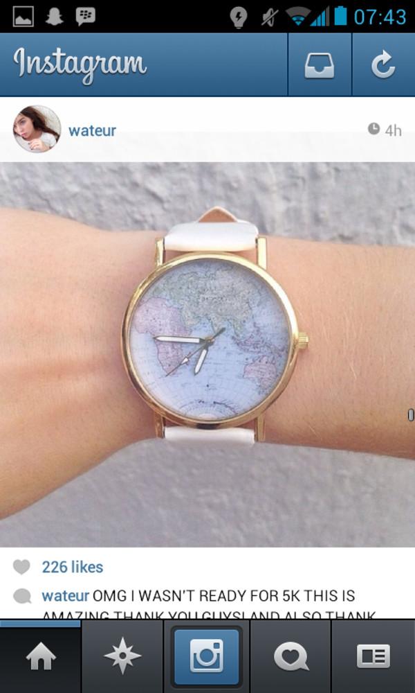 jewels watch map gold blue white watch beautiful