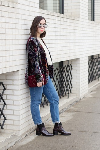 adventures in fashion blogger jacket tank top jeans shoes sunglasses bag jewels red bag blazer ankle boots