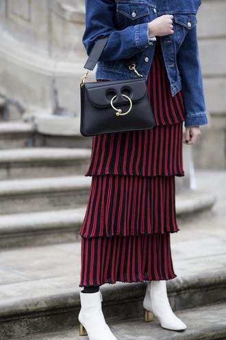 oliviakijo blogger jacket skirt bag shoes denim jacket maxi skirt
