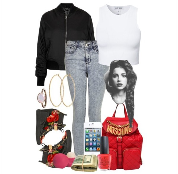 bag moshino red bomber jacket sneakers phone cover nail polish jeans jewels earrings shoes jacket top