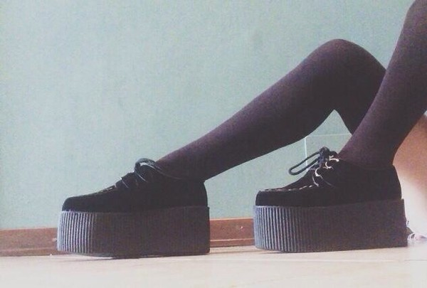 shoes platform shoes black brand material girly