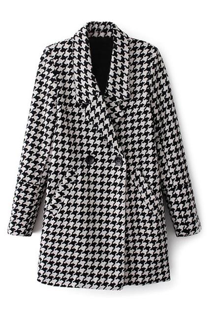 ROMWE | ROMWE Lapel Houndstooth Print Buttoned Coat, The Latest Street Fashion