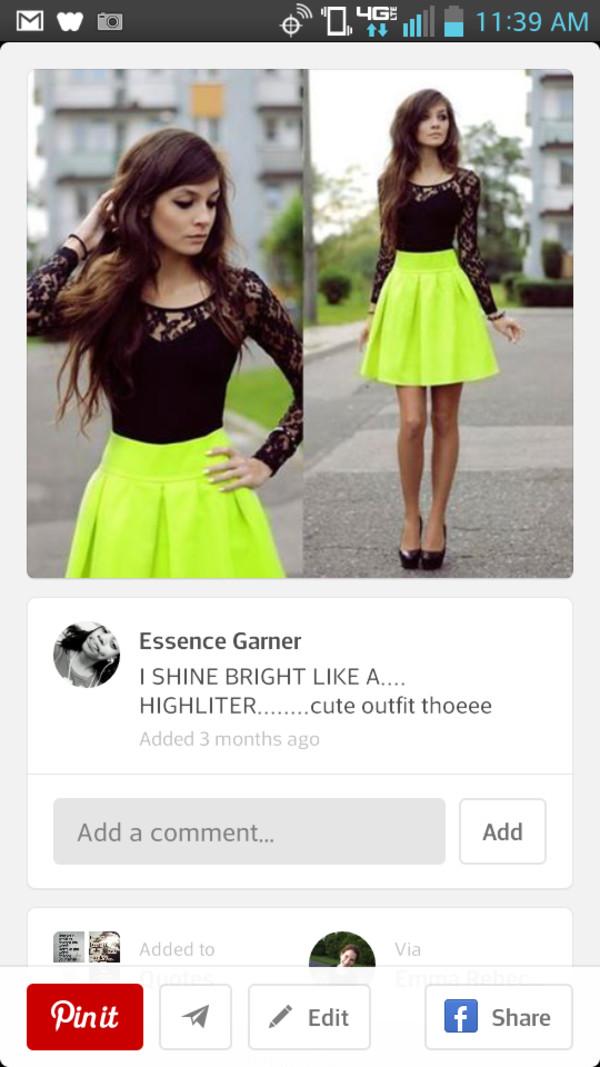 dress neon black lace dress