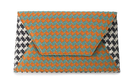 Large Sona Clutch - Two Tone Houndstooth Orange/Black