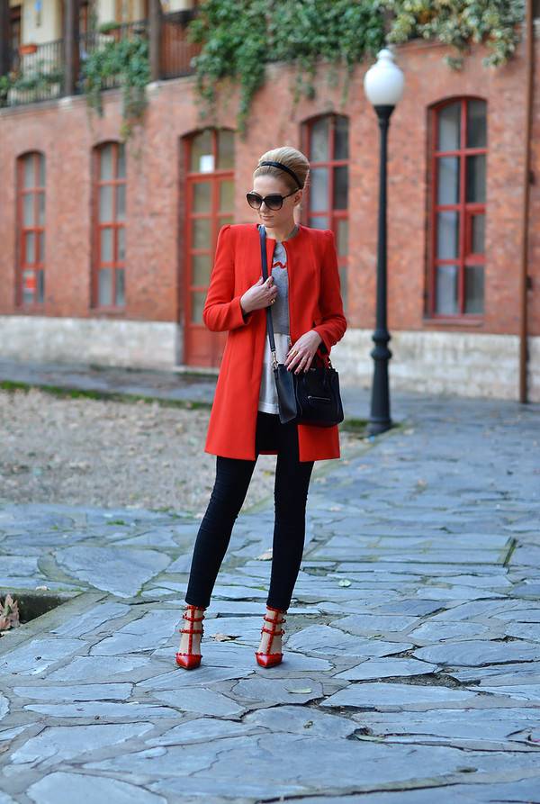 oh my vogue coat sweater jeans blouse shoes bag sunglasses jewels